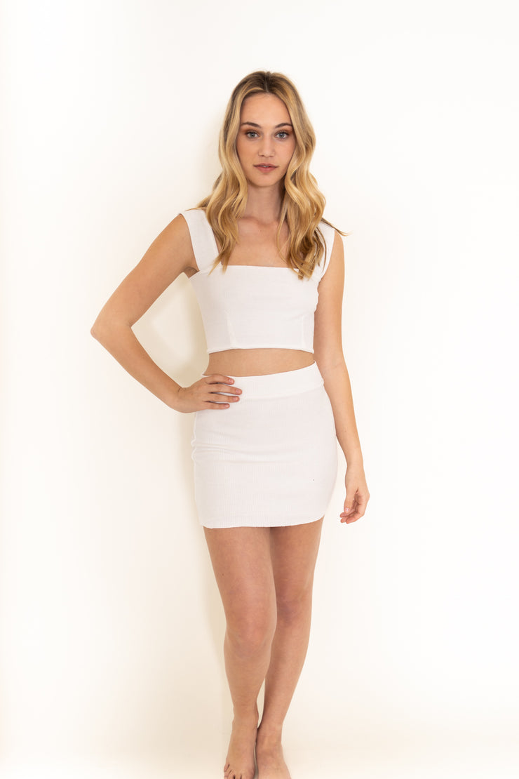 Ribbed Crop Tank Top White