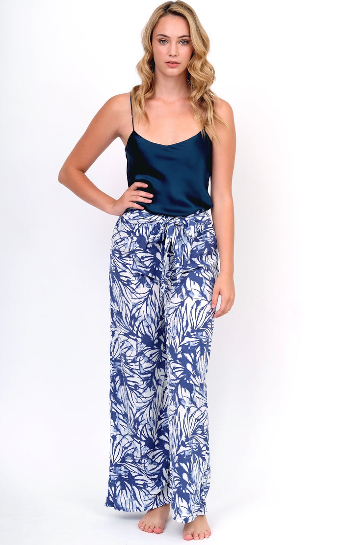 Navy Watercolor Wide Leg Pant