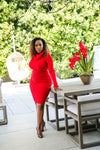 Red Turtleneck Sweater Dress