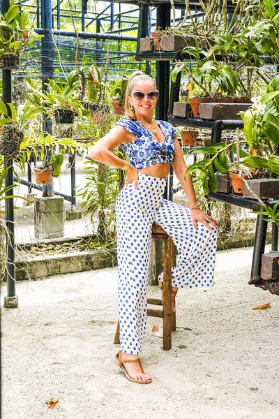 High Waisted Blue Polka Dot Pants