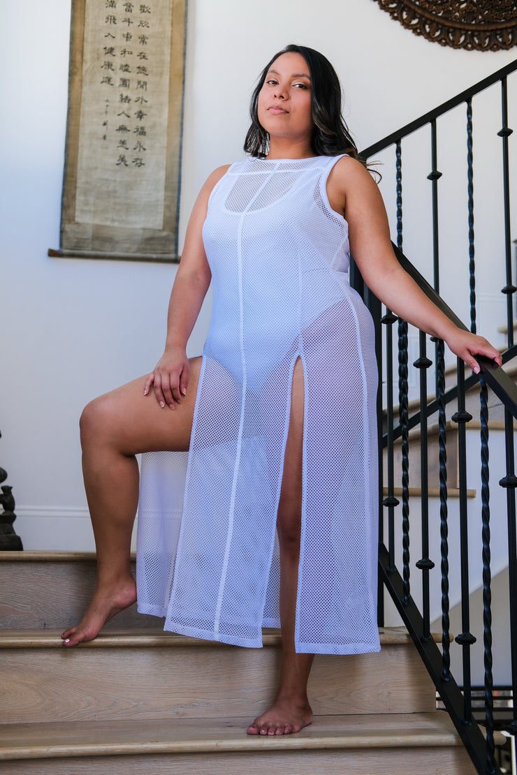White Mesh Tunic with Double Split