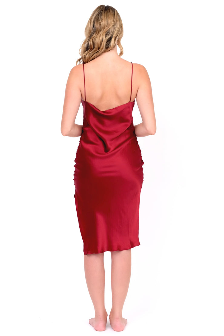 Burgundy Silk Cami Dress
