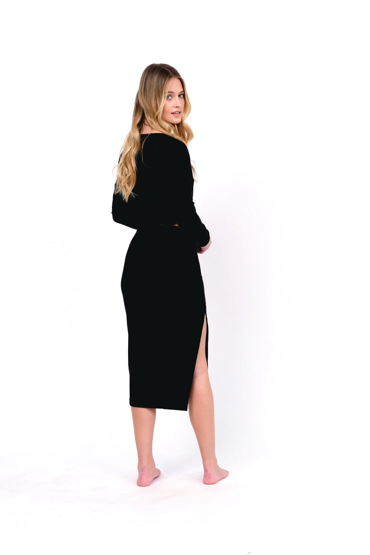 Black Ribbed Midi Skirt with Side Split