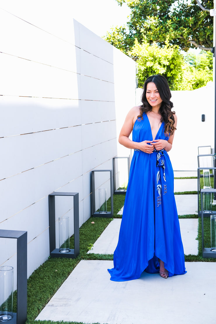Royal Blue Silk Maxi Dress