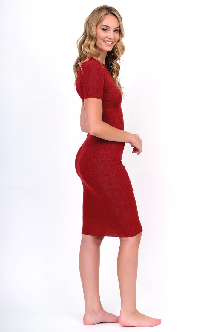 Red Ribbed Midi Dress