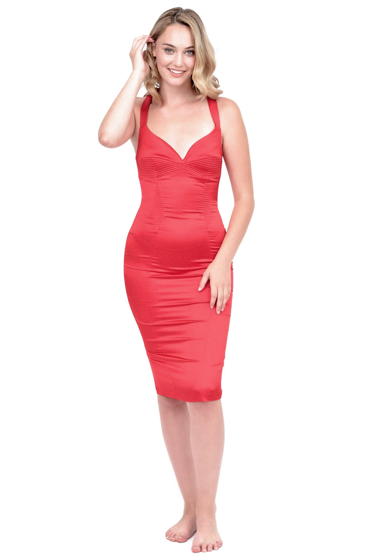 Silky Bodycon Dress in Red