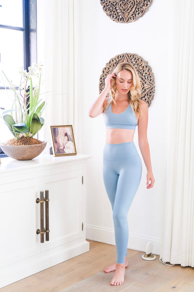 Sky Blue Gloss Yoga Bottoms