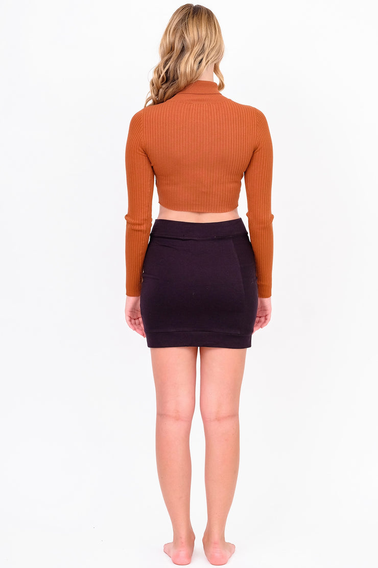 Rust Ribbed Turtleneck Cropped Sweater