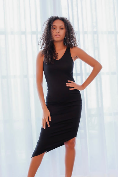 Black Asymmetrical Ruched Dress