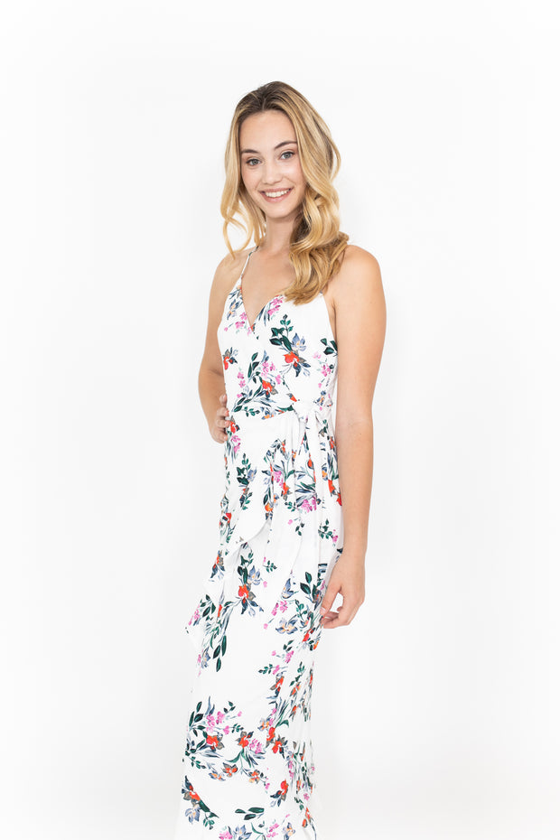 Floral White Tie Dress