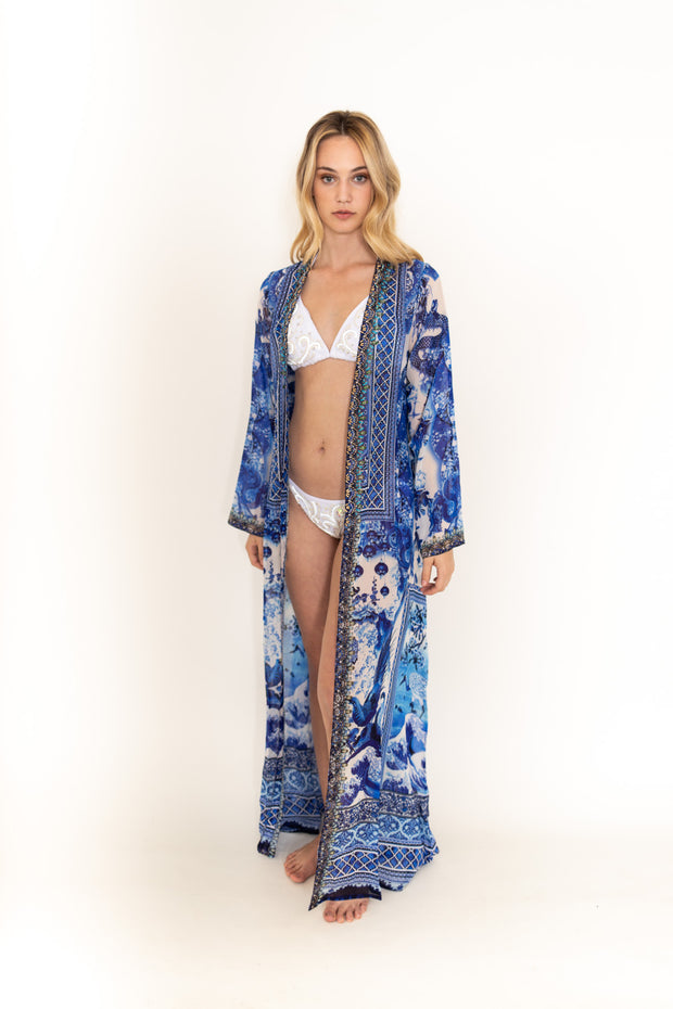 Blue/White Maxi Robe Duster