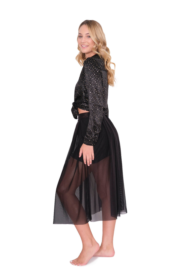 Sheer Black Midi Skirt