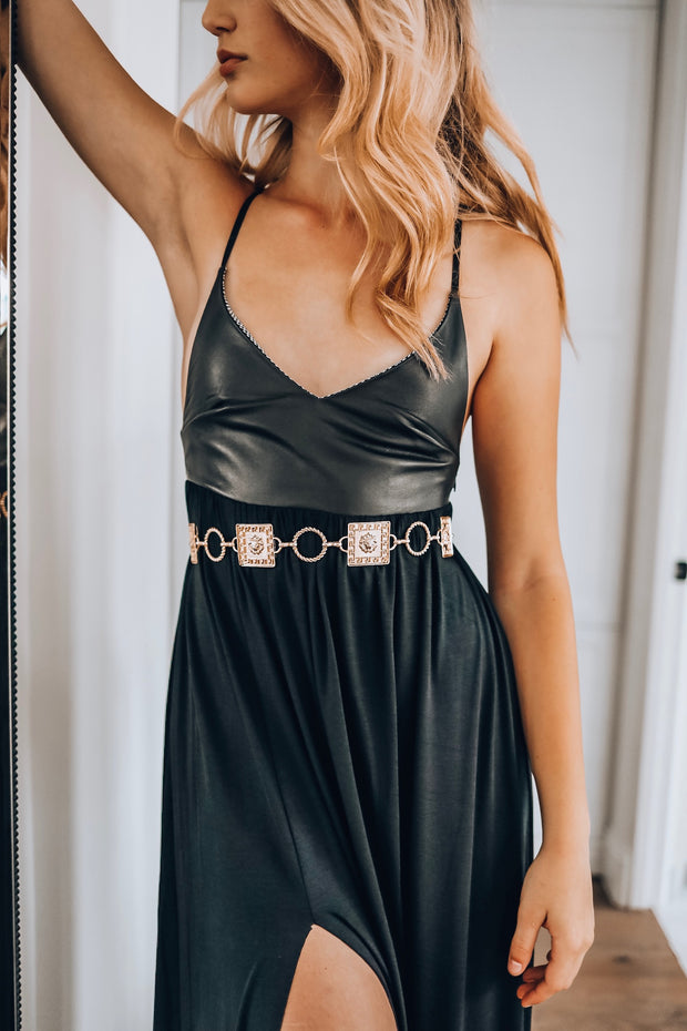 Black Leather and Jersey Slit Dress