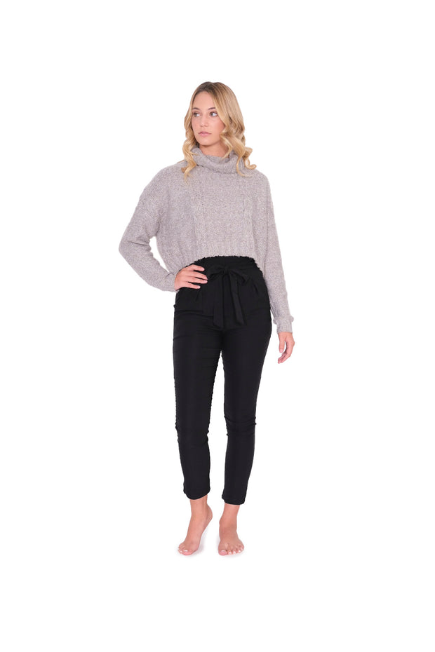 Grey Turtleneck Cropped Sweater