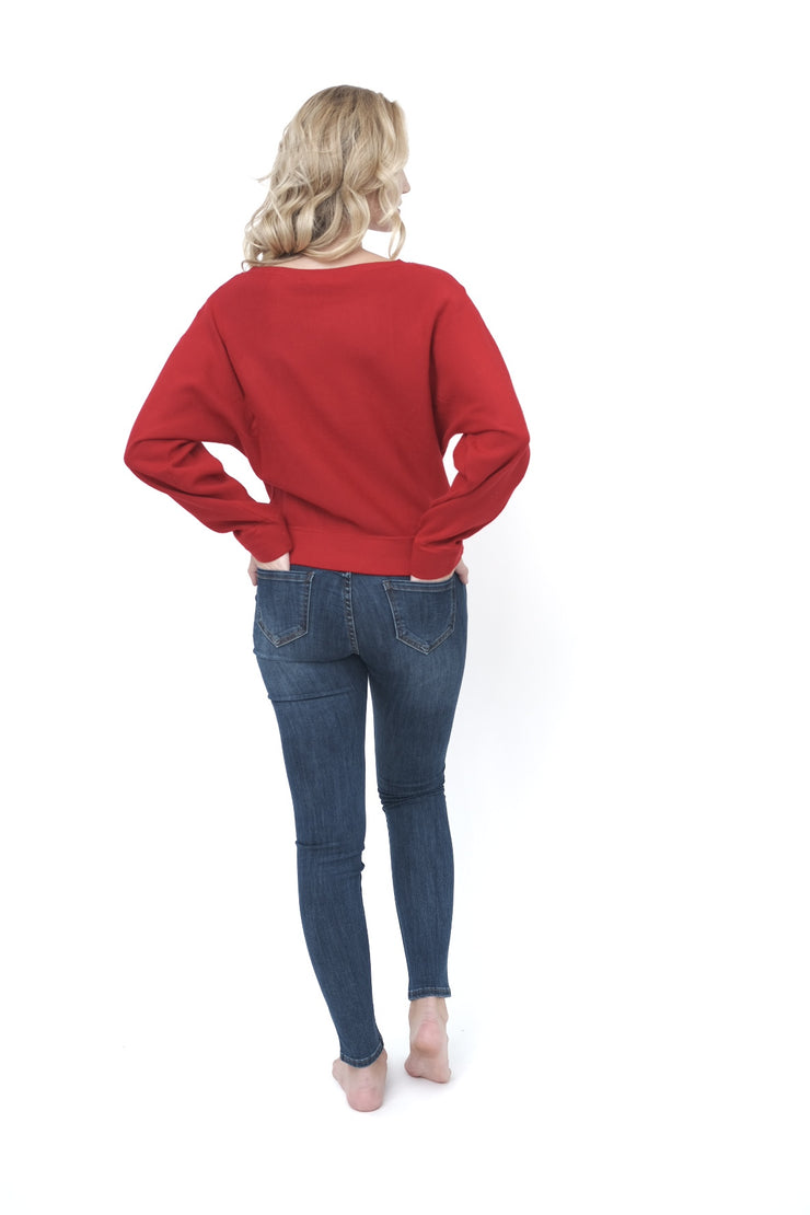 Boat Neck Red Sweater