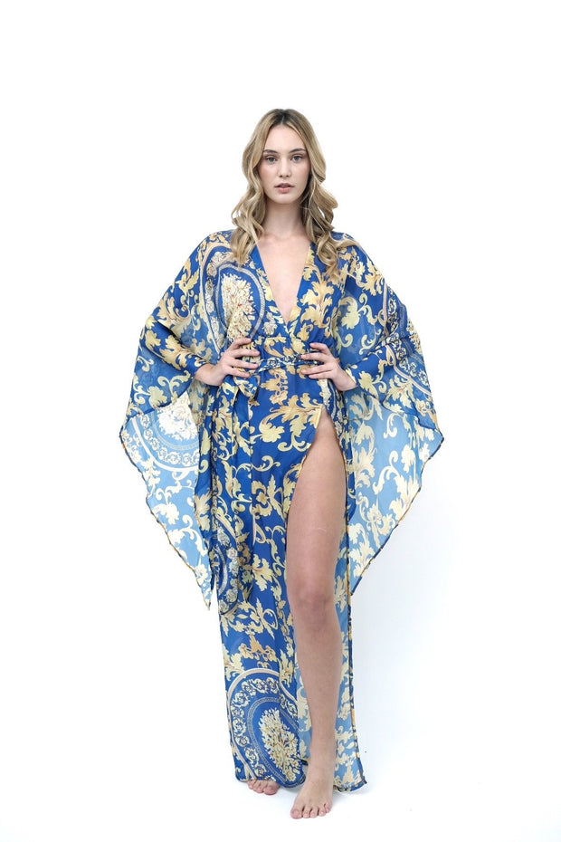 Blue and Yellow Borocco Coverup
