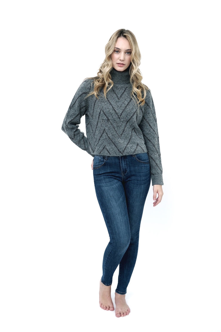Chevron Turtleneck Sweater Grey