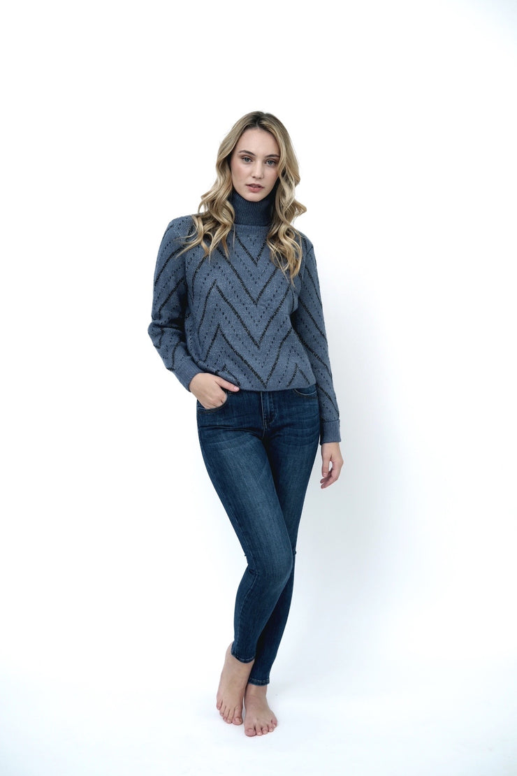 Chevron Turtleneck Sweater
