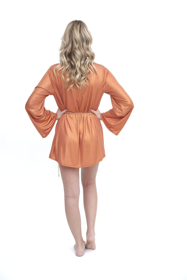 Peachy Dress with Flare Sleeves