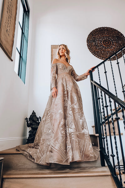 Off the Shoulder Long Sleeve Gown