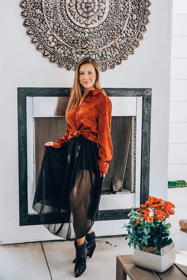 Orange Long Sleeve Blouse with Shimmer Flecks