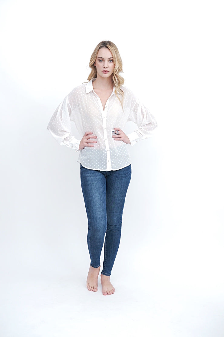 Sheer White Heart Blouse