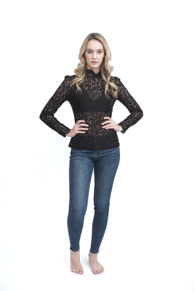 Black Lace Mock-Neck Top