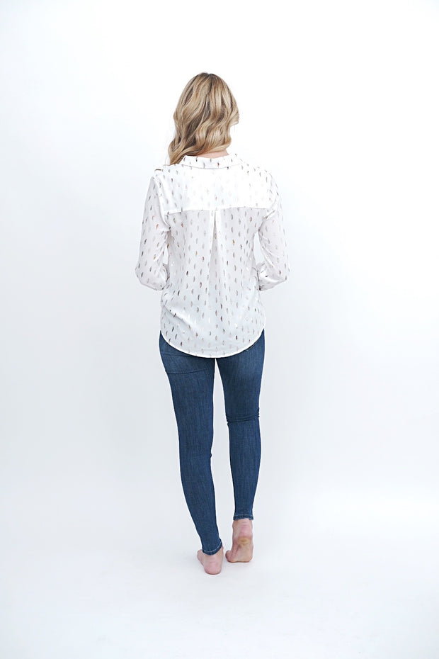 Silver Metallic Button Up Top