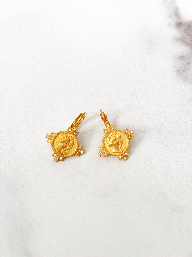 Golden Earrings with Swarovski Crystals