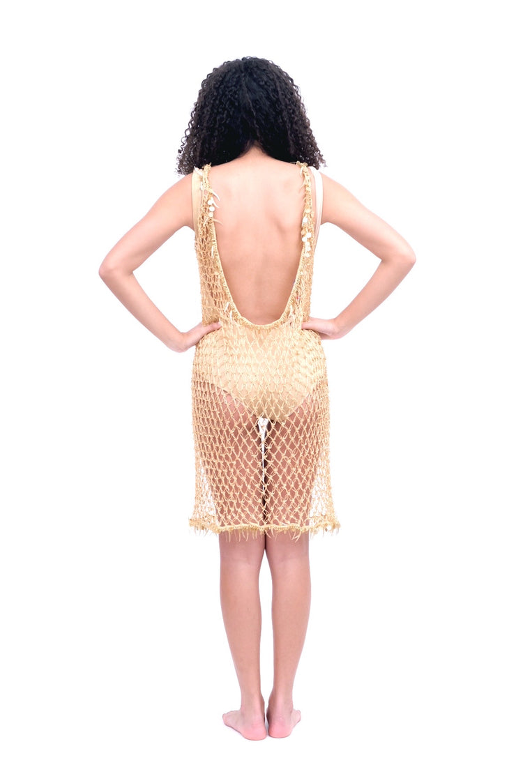 Beaded Net Cover Up Gold