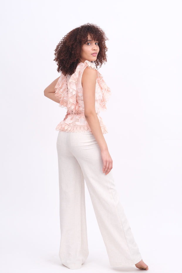 Cream Linen Pants with Pockets