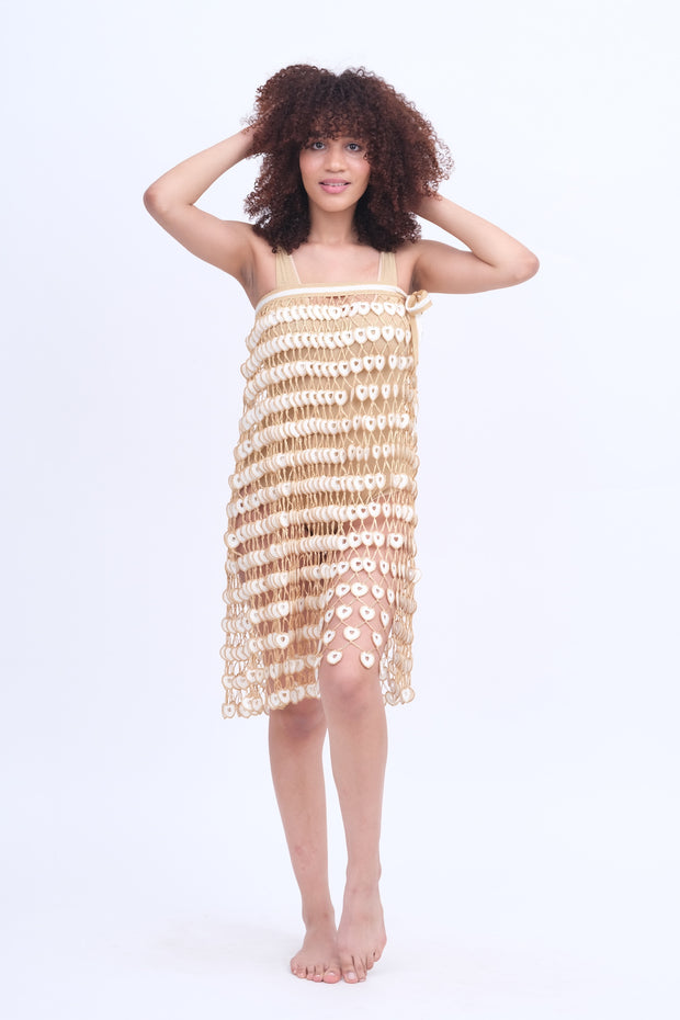 White & Gold Crochet Skirt