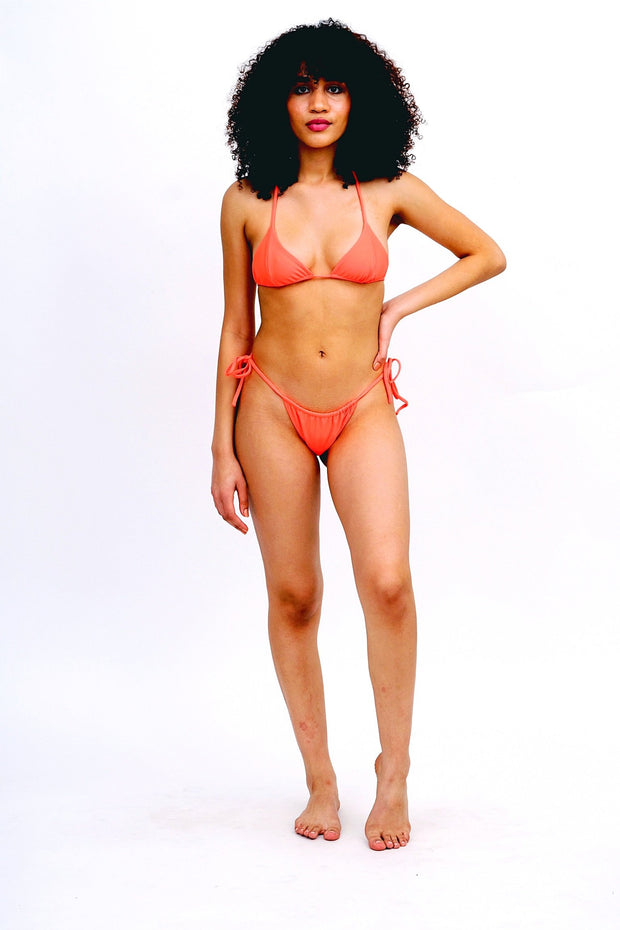Neon Orange String Bikini Bottoms