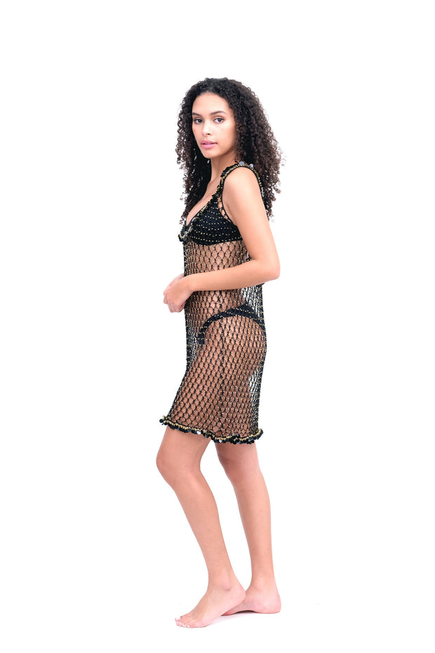 Beaded Net Cover Up Dress