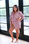 Pink Striped Pajama Shorts