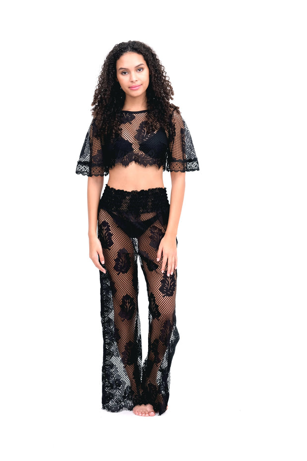 Black Lace Leaf Crop Top