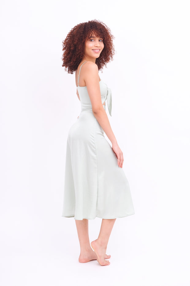 Pastel Sage Skirt with Side Slit