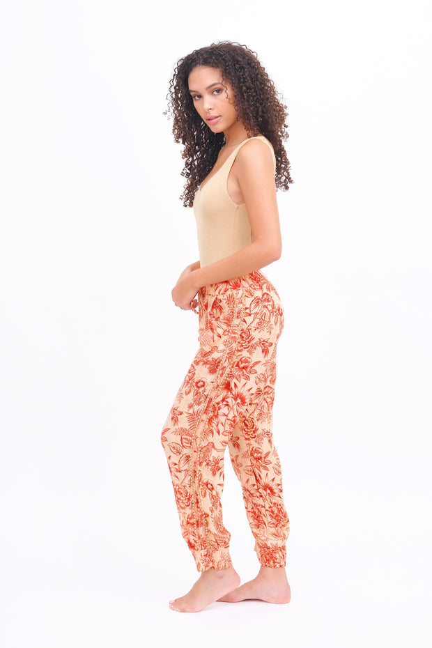 Floral Joggers with Pearl Trim