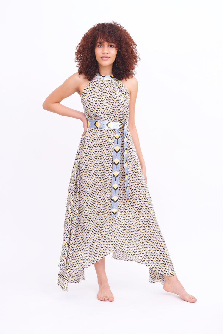 Taj Navy & Gold Asymmetrical Maxi Dress