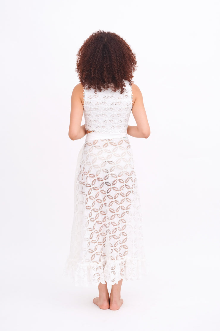 White Ruffle Lace Skirt