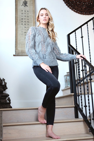 Chunky Cable Knit Sweater Heather Grey