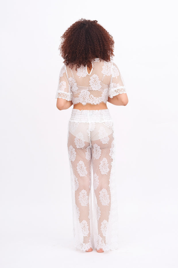 White Lace Leaf Palazzo Pant