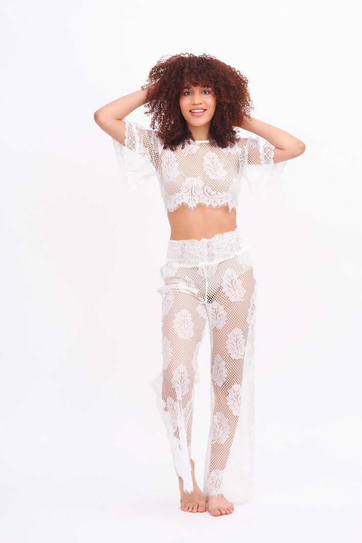 White Lace Leaf Crop Top