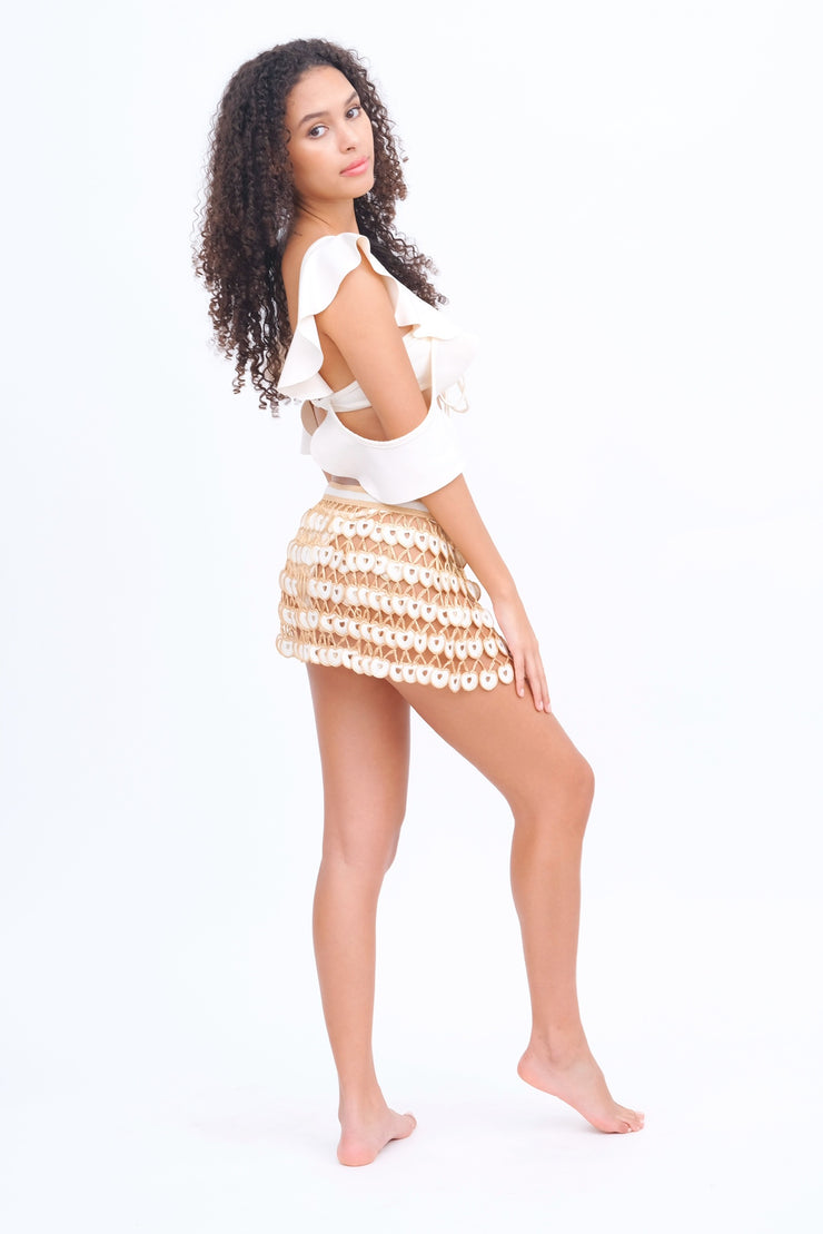 White & Gold Crochet Mini Skirt