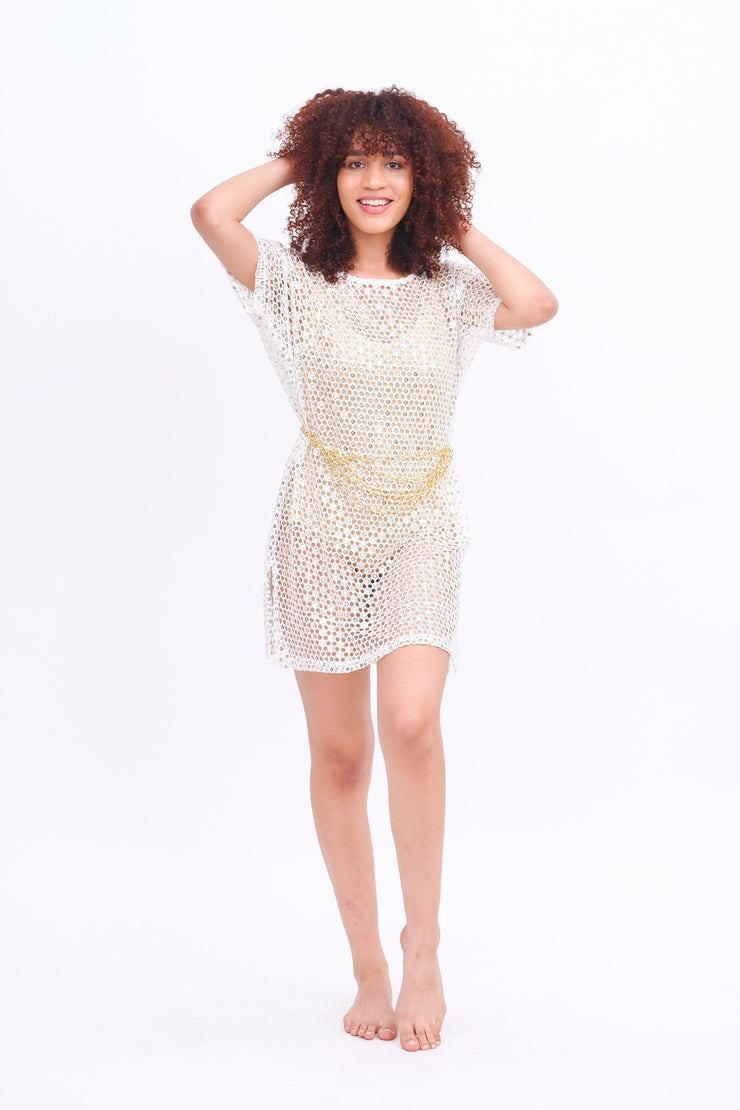 White Crochet & Mirror T-Shirt Dress