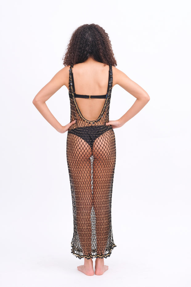 Maxi Beaded Net Cover Up