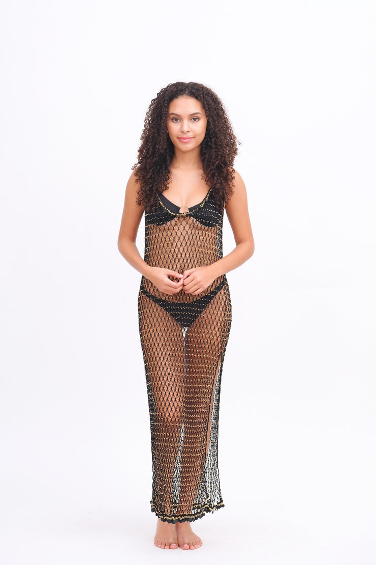 Maxi Beaded Net Cover Up Black