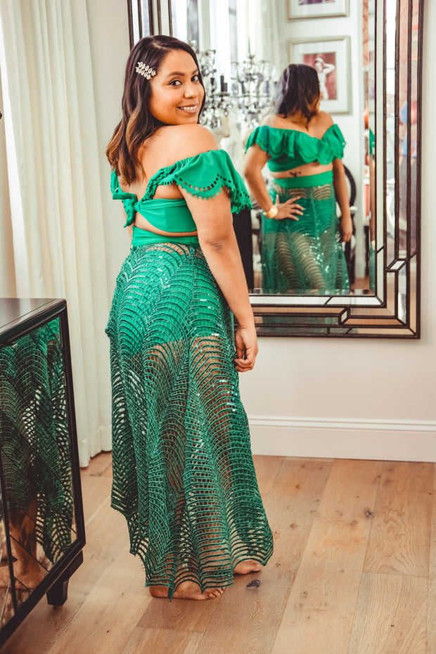 Emerald Sequin Webbed Skirt