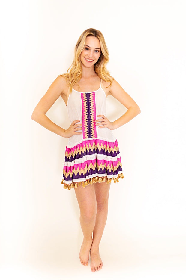 Chevron Shift Dress with Tassels