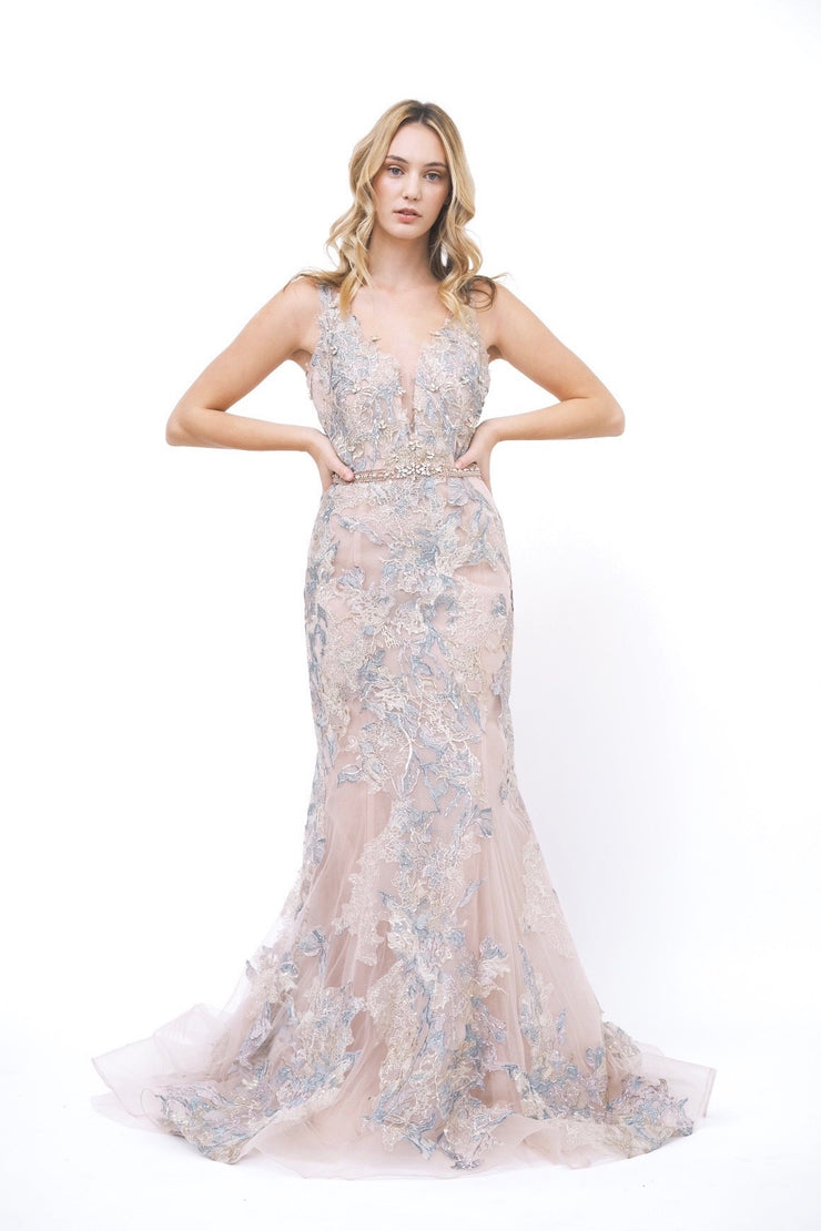 Pink Floral Lace Gown